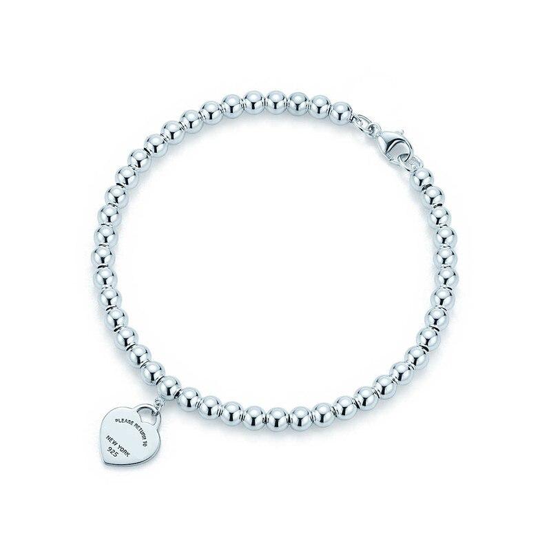 100% 925 Sterling Silver Genuine Original Charm Heart Bead Bracelet Original Female Jewelry Personality Gift logo pendants (5)