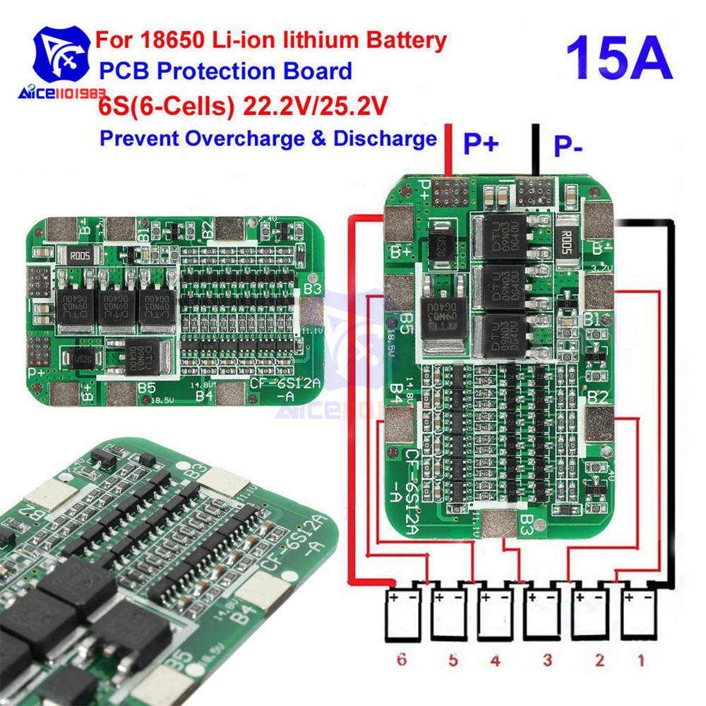 1PCS New Arrival 6S 15A 24V PCB BMS Protection Board For 6 Pack 18650 Li-ion Lithium Battery Cell Module