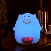 Children LED Night Light Cartoon Pig Alarm Clock USB Charger Time Temperature Display Lamp For Kid