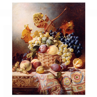 Needlework Crafts 14CT unprinted embroidery DMC Counted Cross Stitch Kits Still Life with Basket of Fruit on a Table with a Rug