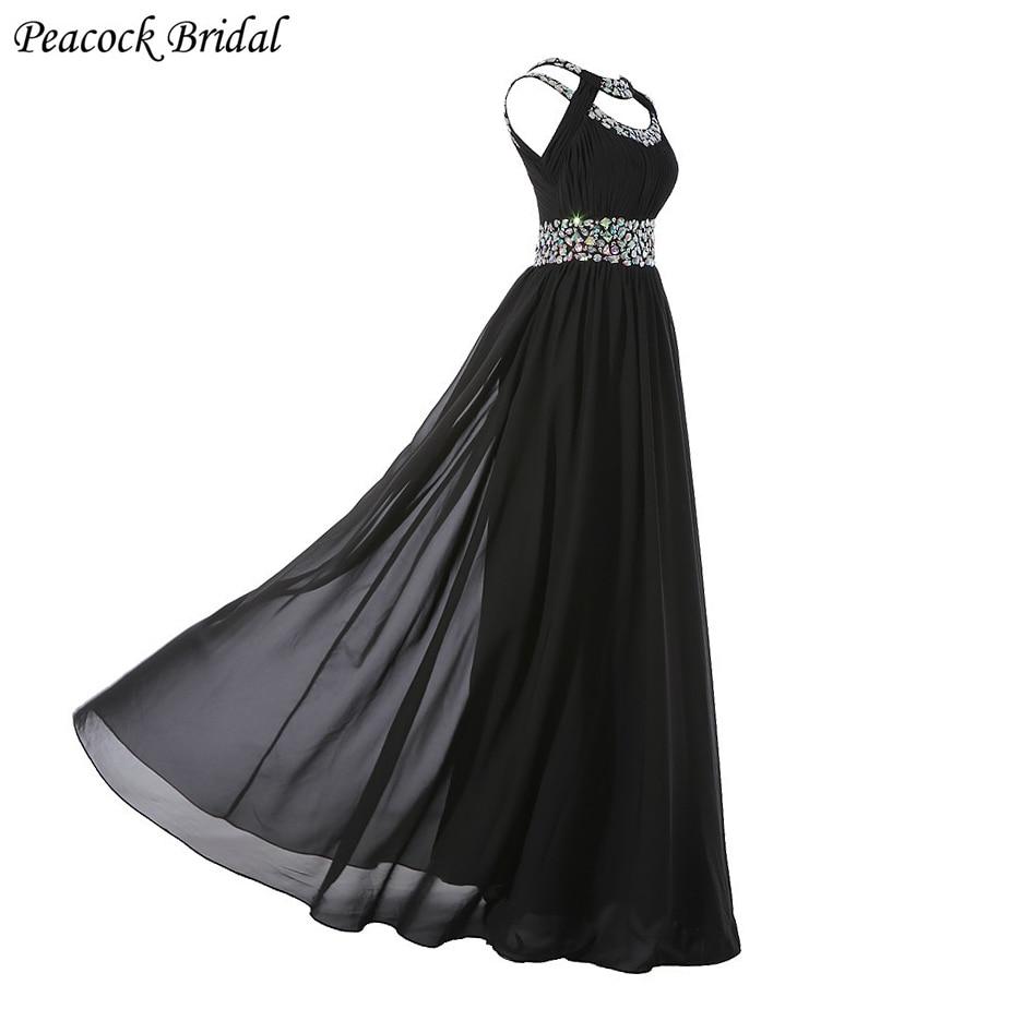 Long black peacock design dress