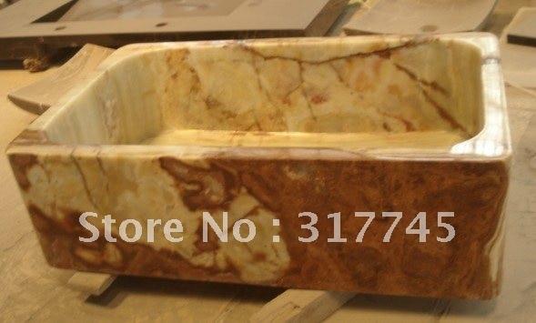 Natural Green Onyx Farm Single Sinks, Handmake Nice Stone Kitchen Farm Sinks,  High Polish