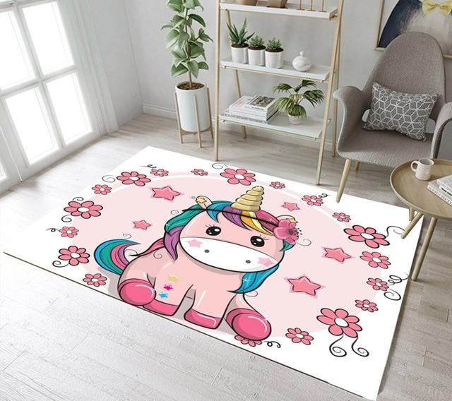 Дети Единорог звезды цветы ковры и ковры для ребенка дома гостиная Большой Спальня Салон прихожей кухня двери коврики ванной