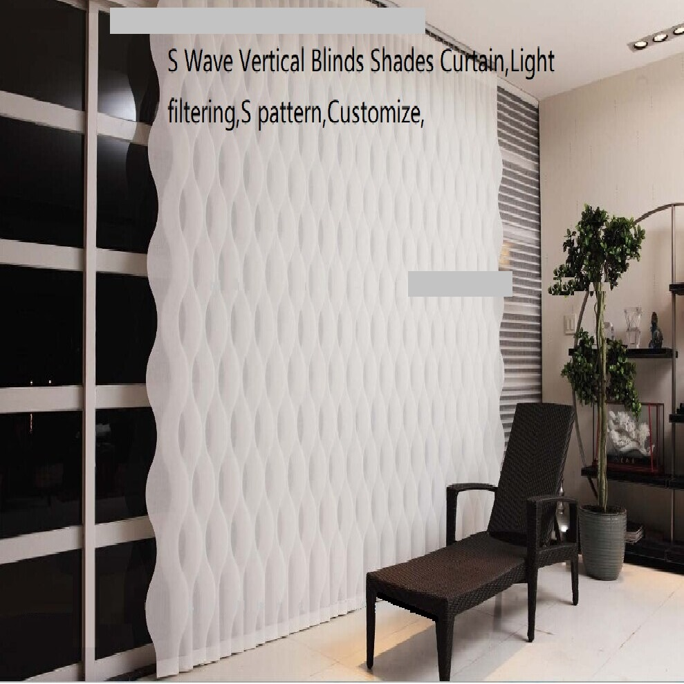 S Wave Vertical Blinds Shades CurtainLight filtering S pattern