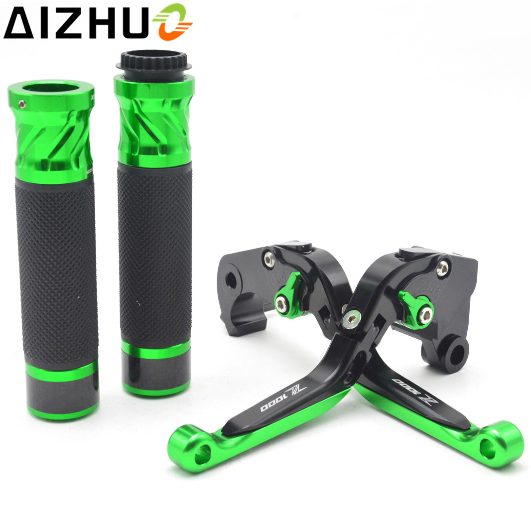 Motorcycle Clutch Brake Lever Handlebar Grips Adjustable CNC Aluminum Levers With Z1000 LOGO For Kawasaki Z1000 Z 1000 2007-2016