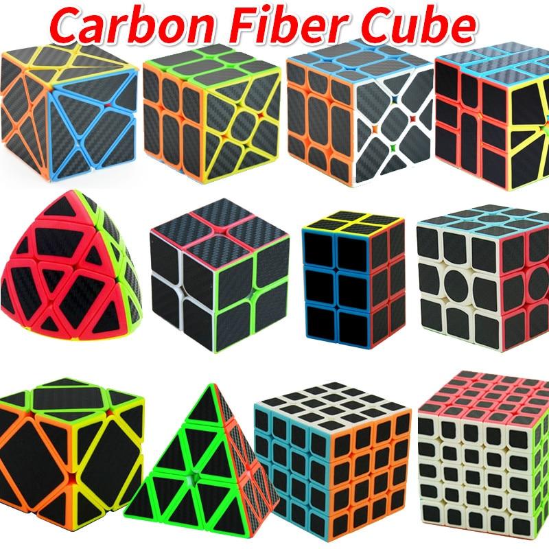 Carbon Fiber Cube Magic Cube Speed 2x2 3x3 4x4 5x5 Pyramides 223 233 SQ1 Skew Puzzle Rice Dumling Cubo Magico Toys For Children
