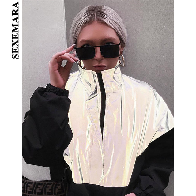 2a2209ce SEXEMARA Color Block Black Reflective Coat Women Jacket Outwear Front Zip  High Neck Loose Hoodies Windbreaker