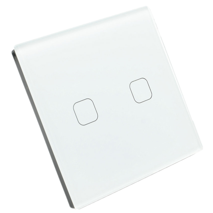Touch Switches 2 Gang 1 Way Light Wall Switch Crystal Glass Panel LED Indicator Senior 220V 5A Energy Saving UK EU Standard eu standard wallpad black touch control switches 1 gang 2 way crystal glass panel wall touch switch led indicator free shipping