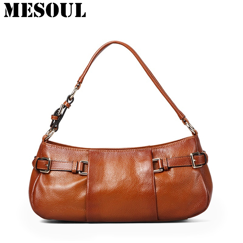 MESOUL Bag Women Genuine Leather Handbags Vintage Designer Brand Shoulder Bags Ladies Brown Tote Purses High Quality Hand Bag women genuine leather handbag brown ladies shoulder bags high quallity female tote purses handbags designer brand bolsa feminina
