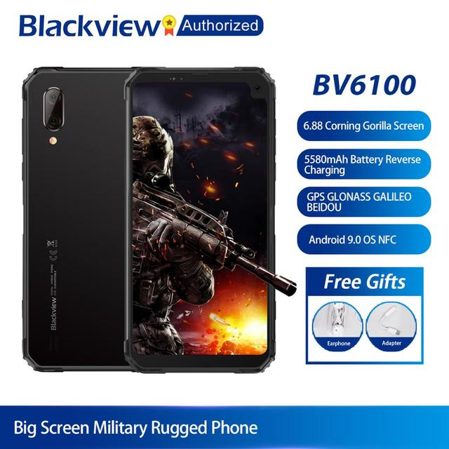 Blackview móvil BV6100, 3GB + 16GB, 9,0 mAh, Android 6,8, teléfono inteligente de pantalla grande IP68, resistente al agua, procesador MT6761, Octa Core, 3GB RAM, 16GB rom, batería NFC