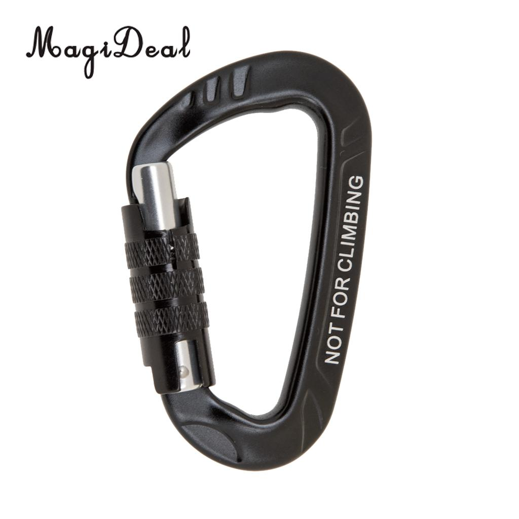 MagiDeal Portable 12KN D Shape Carabiner Screw Locking Clip Hook Self Locking Snap Keychain for Camping Hammock Hanging Black