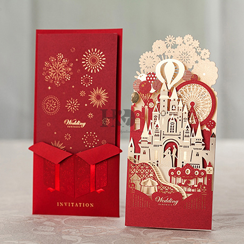H&D Red Hollow Cut Castle Invitation Card With Inner Card