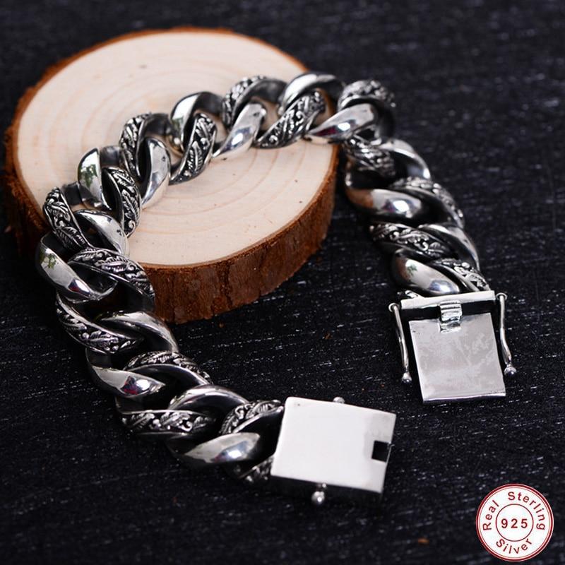 2019 nouvelle plante Totem véritable 925 argent Bracelets Punk Rock Vintage lourd en argent Sterling Bracelet hommes de luxe mâle Biker bijoux