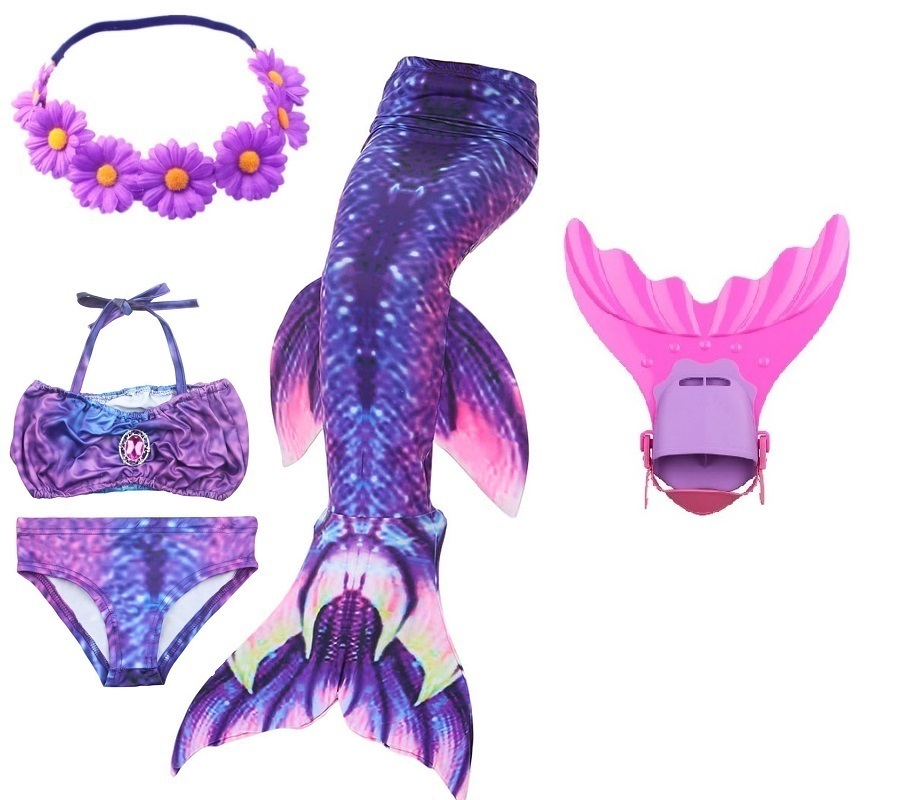 Kids Swimming Mermaid Tail With Monofin Swimsuit Costume Cosplay Clothing Girls Children Swimmable Mermaid Tails For Swimming