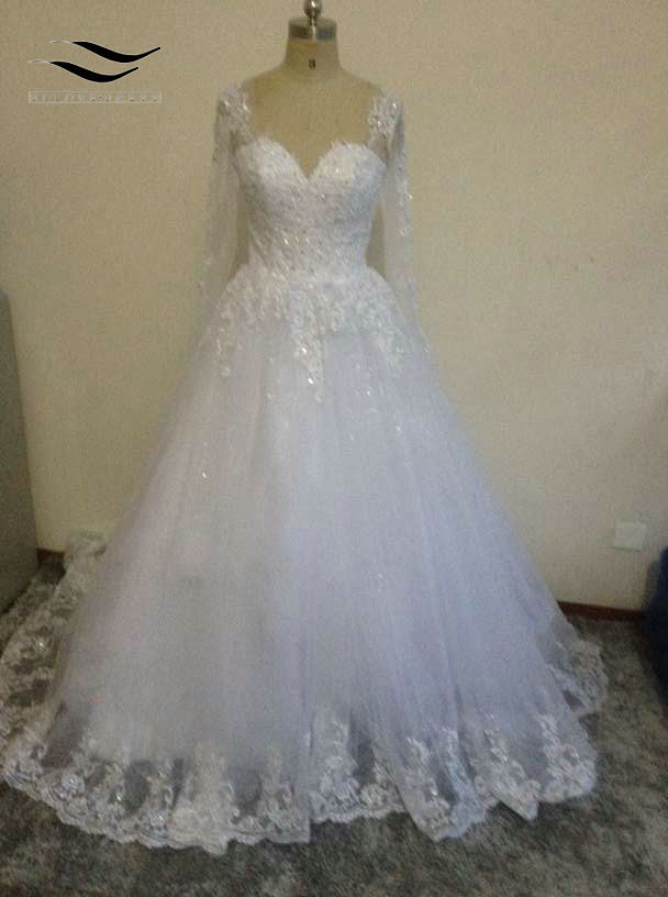 Poročne obleke Vestidos Čipkaste poročne obleke Vestido de Noiva Poročni obleki z dolgimi rokavi s čipkastimi aparati Princess poročna obleka SL-W269