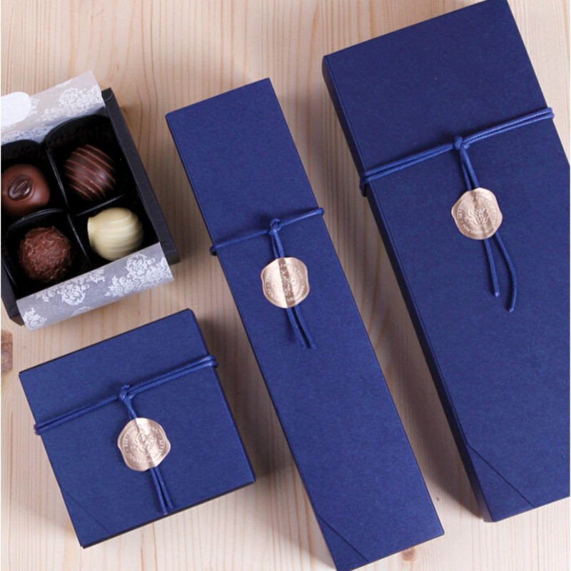 4/6/12 Packed Chocolate Boxes Blue Chocolate Paper Box Valentine's Day Christmas Birthday Party Supplies Gift Packaging