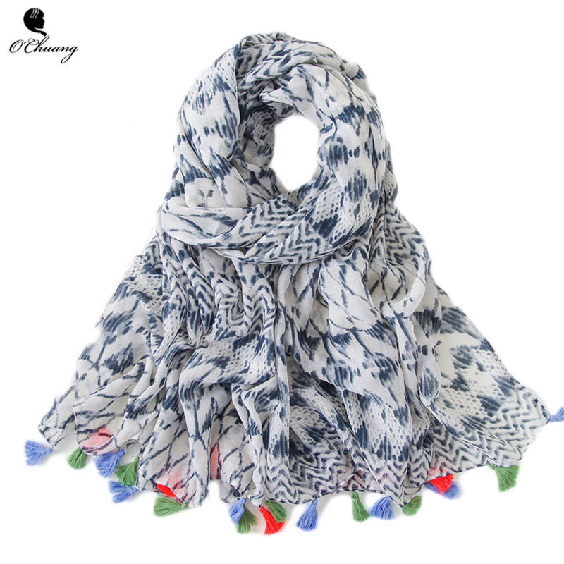 O CHUANG Winter Hijab Scarf Women Florals <font><b>180*90cm</b></font> Soft Viscose Shawl <font><b>bufandas</b></font> invierno mujer 2018 Cotton Head Scarves image