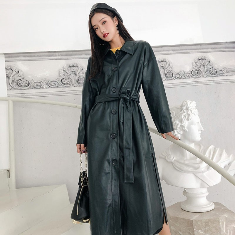 LANMREM 2018 New Fashion Retro PU Leather Long Type Jacket Female's Persoanlity Full Sleeve Sashes Overcoat Vestido YE54006