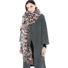 d3463fd1f96 Femmes hiver épais léopard gland cachemire doux longue écharpe châle Wrap  couverture femmes foulards mouchoir hijab
