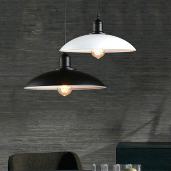 Vintage Retro Loft Black/white Aluminum Round Led E27 Pendant Light For Dining Room Coffee Bar Restaurant Dia 32cm 2011