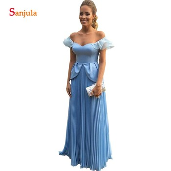 Draped Chiffon Bridesmaid Dresses 2019 A-line Sweetheart Off Shoulder Wedding Guest Dress Long Blue Women Party Gowns Pleat BY96