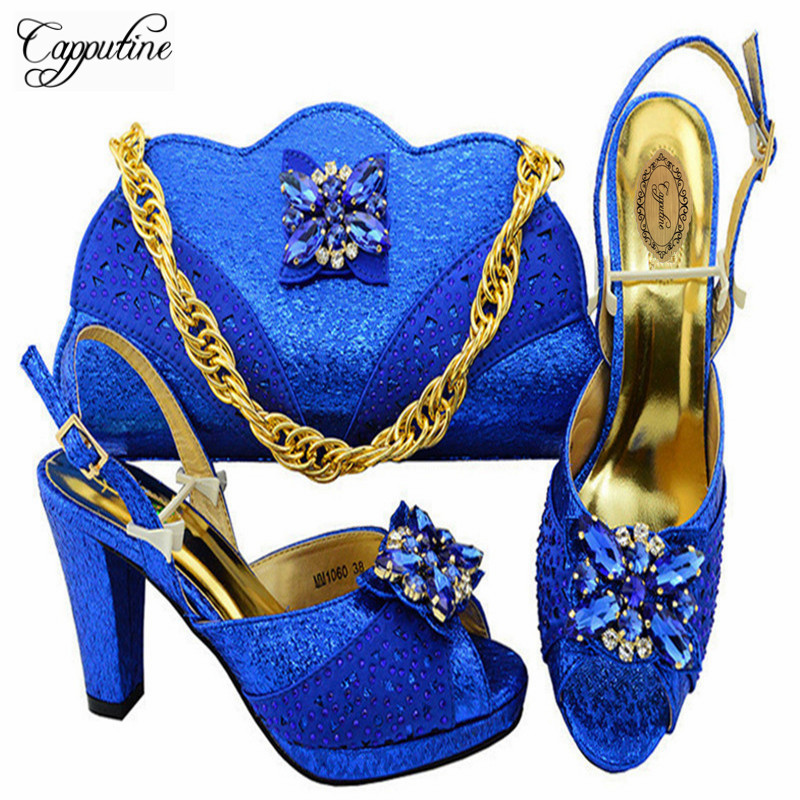 Capputine African Decorated With Stone Shoes And Matching Bags Set 2018 Italian High Heels Shoes And Bag Set For Wedding M10605 irfp4368 to 247