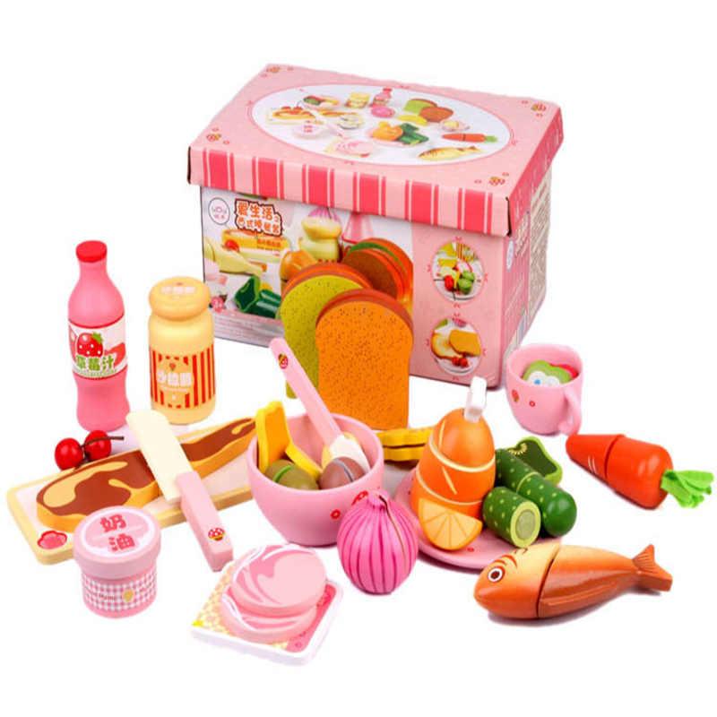 Младенческая сияющая кухня Моделирование игрушка набор имитация Западный завтрак деревянная игрушка-фрукт детский игровой дом набор игрушек блоки