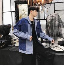 Fashion Casual Mens Jacket Spring And Autumn New M-XL Color Matching Loose Coat Blue Personality Youth Popular