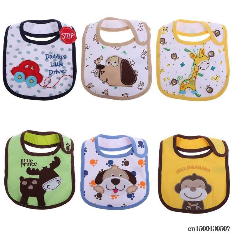 Cartoon Baby Cotton Waterproof Bib Kids Infant Lunch Dinner Apron Soft Saliva Towel Avoid Dirty Clothes Toddler Eating Accessory