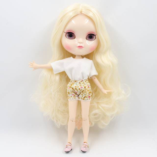 ICY Fortune Days factory doll azone joint body 30cm white skin Light gold long curly hair DIY sd gift toy