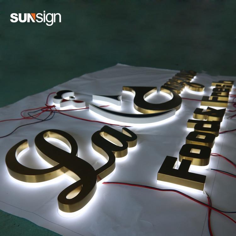 3D led backlit stainless steel sign halo lit signage channel letters