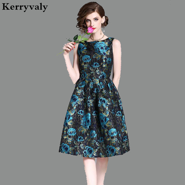 157da8ef539d9 Luxury Blue Gold Floral Jacquard Vintage Dress Woman Dress 2018 Spring  Summer Dress Strand Jurkjes Robe Femme Zomer Jurk K3049