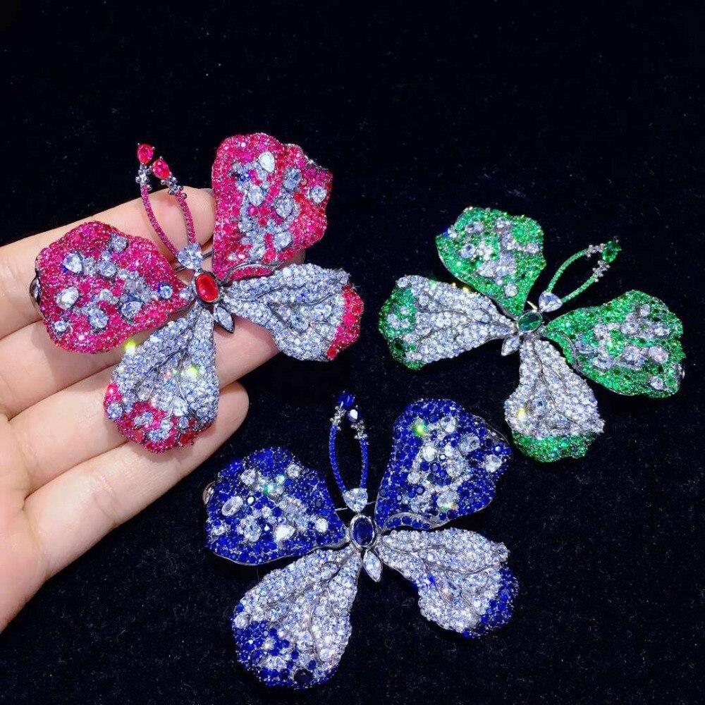 Grande broche papillon broches bleu vert rose rouge couleur 925 argent sterling avec zircon cubique haute qualité 51*67 MM bijoux de mode