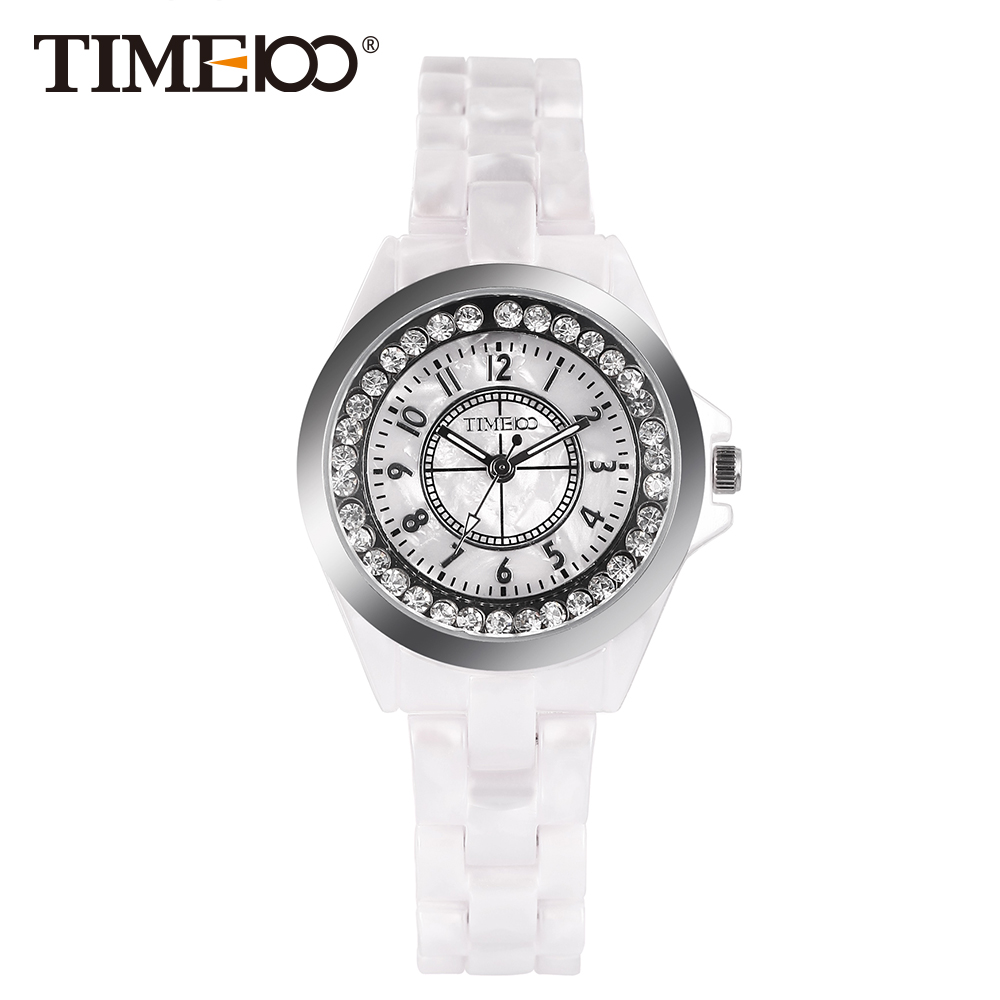 New Time100 Elegance Watches Women Quartz Watches Simulated White Ceramics Casual Ladies Wrist Watch Colck relogio feminino time100 unique ceramic women s watches three dimensional hummingbird pattern ladies quartz watches relogio feminino clock