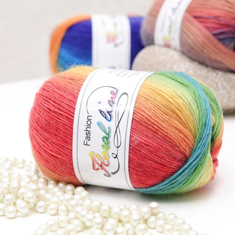 Haute qualité 100% Laine australienne Crochet fil épais pour Tricoter à la main Laine A Tricoter arc-en-ciel espace teints bébé fils Laine three A