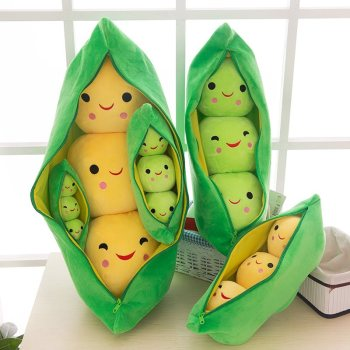 1pc Pea pod plush toy cute bean pea shape sleeping pillow creative holiday gift can be cleaned disassembled filled plant doll 25cm cute kids baby plush toy pea stuffed plant doll kawaii for children boys girls gift high quality pea shaped pillow toy 138