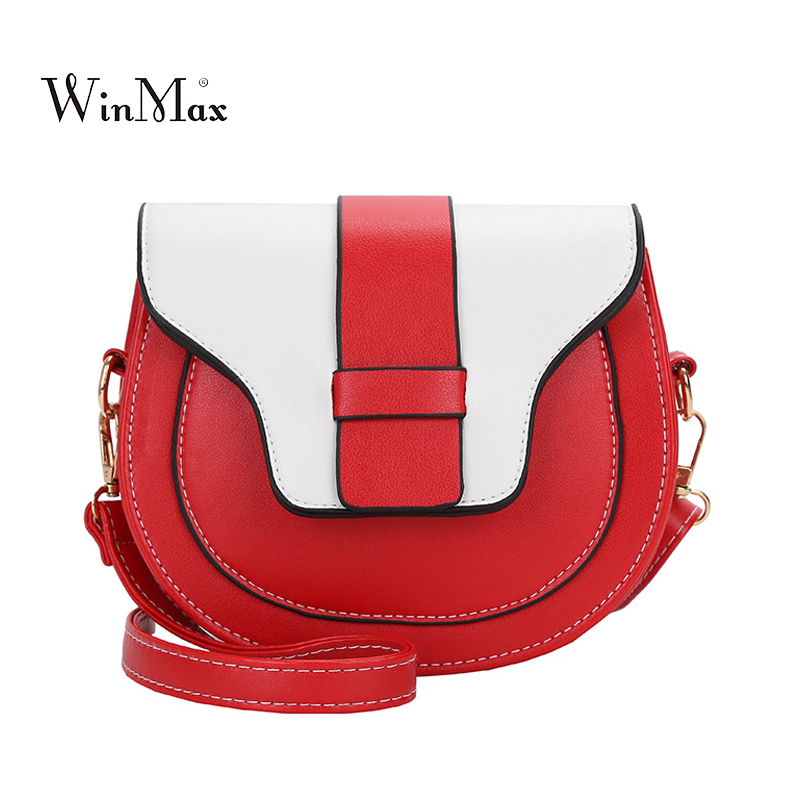 Summer Small Flap Women Round Bag PU Leather Shoulder Bag Patchwork Messenger Bags Women Handbag Crossbody Bolsas For Girls Red