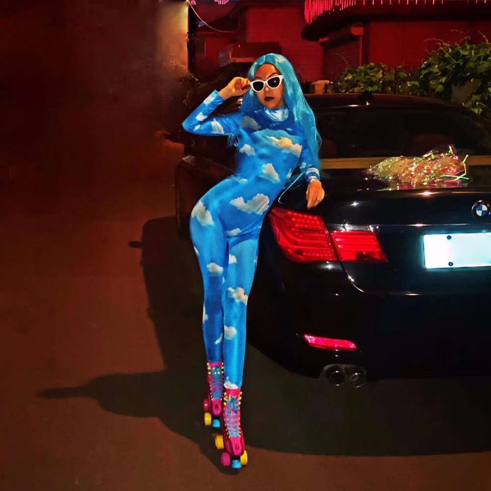 Mostra Stampato Con 3d Celebrare Blu Bianche Stage Nightclub Donne Partito Tuta Ballerino Jumpsuit Djds Cantante Di Cielo Sexy Usura Nuvole nRawBY1wq