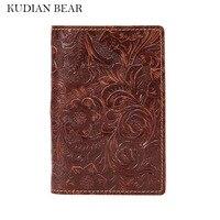 KUDIAN BEAR Genuine Leather Passport Holder Travel Passport Wallet Embossed Passport Cover For Documents BIK079 PM49