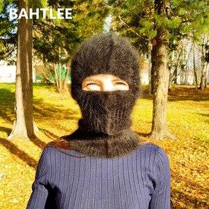 Image 2 - BAHTLEE masque de Ski dhiver, cagoule, Angora, lapin, écharpe tricoté, chauffe cou, casquette polaire, pour hommes ou femmes
