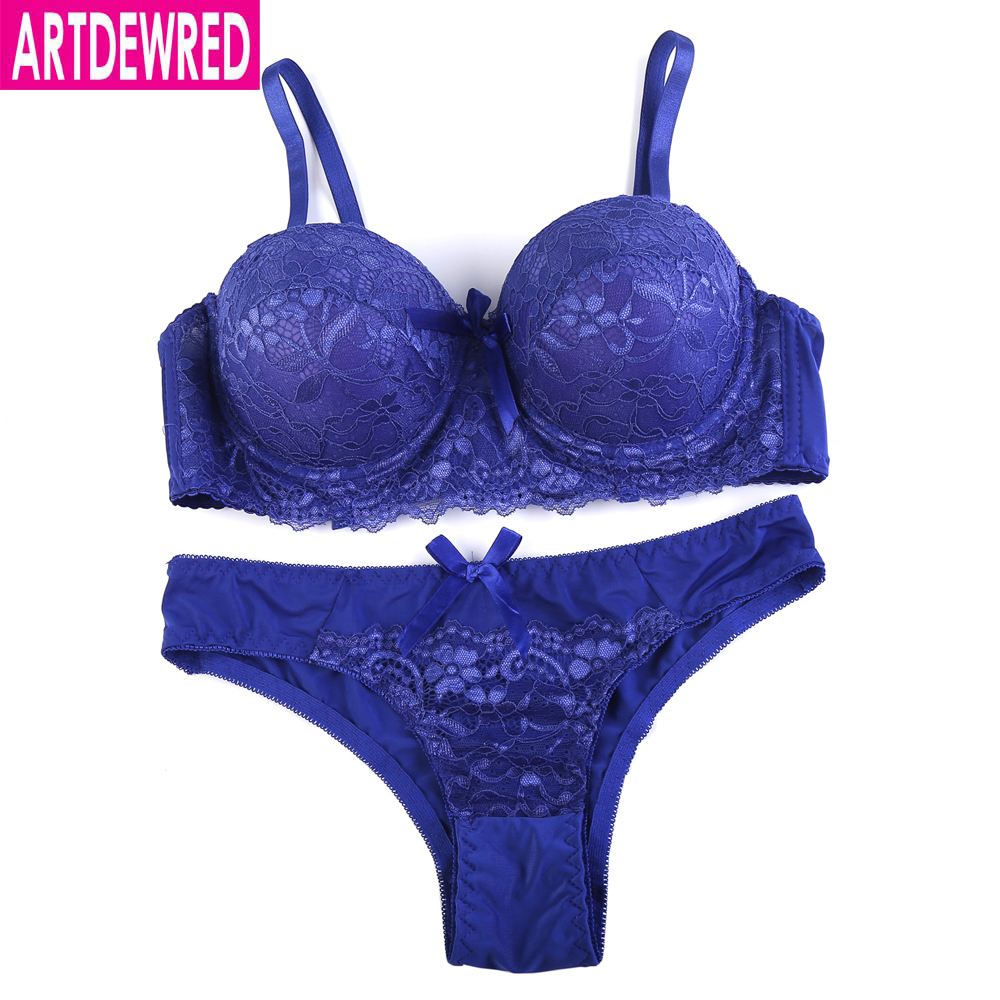 ARTDEWRED New Arrivals Sexy Hollow Out   Bra     Brief     Sets   36-44 ABC Lace Embroidery Push Up Women   Bra     set   Underwear Panty   Set   6color