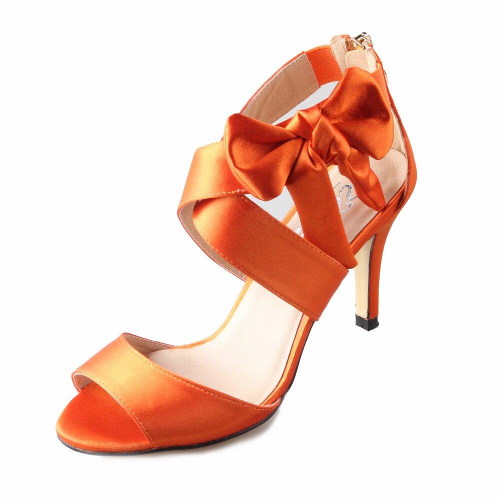 ФОТО Sweet crossed band bow sandals burnt orange bridal dress shoes wedding evening party prom cover heel zipper custom colors 8cm