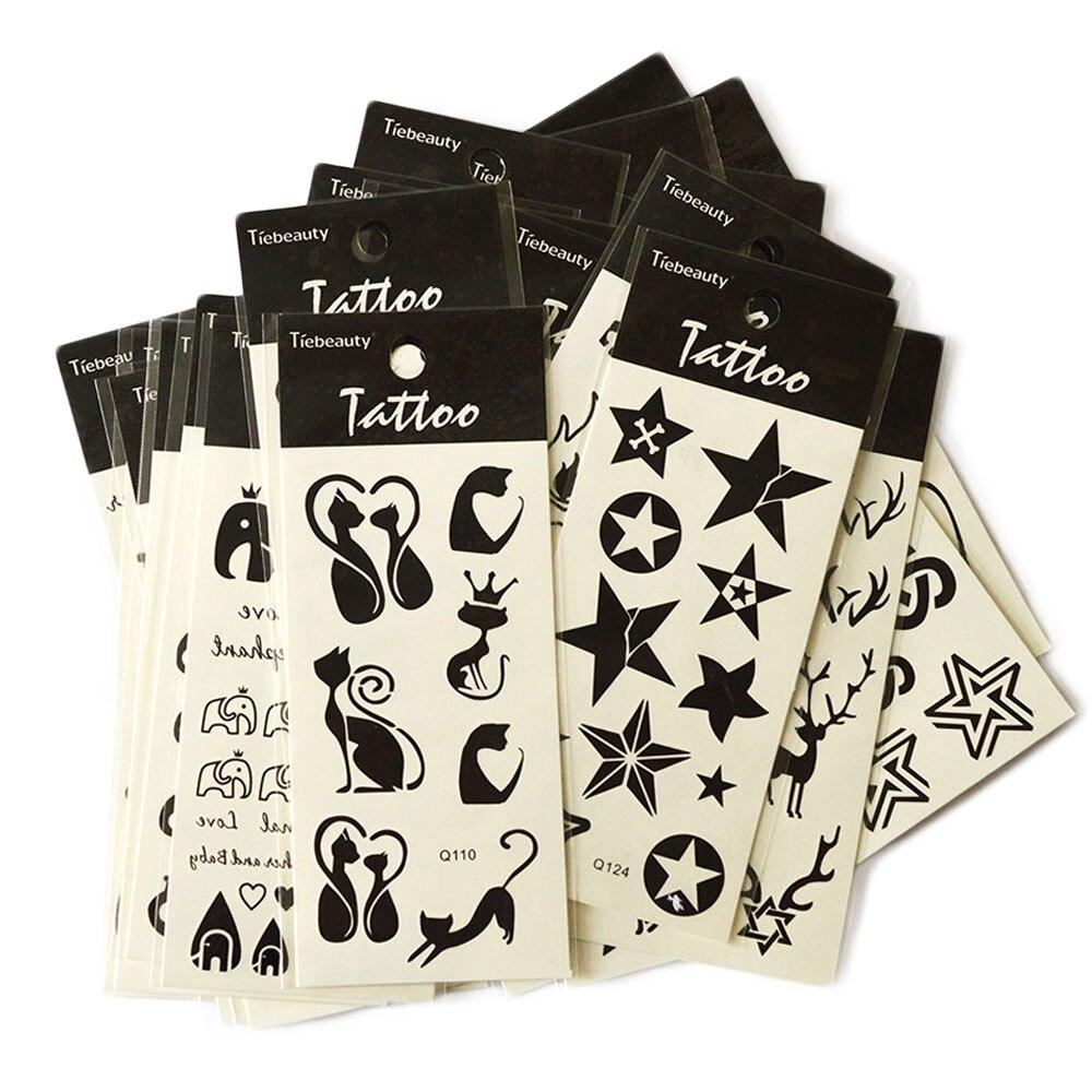 1 Простыни черный Водонепроницаемый Наклейки Средства ухода за кожей Книги по искусству Временные татуировки Наклейки Перо кошка череп Алмазный Блеск татуировки Стикеры la101-124