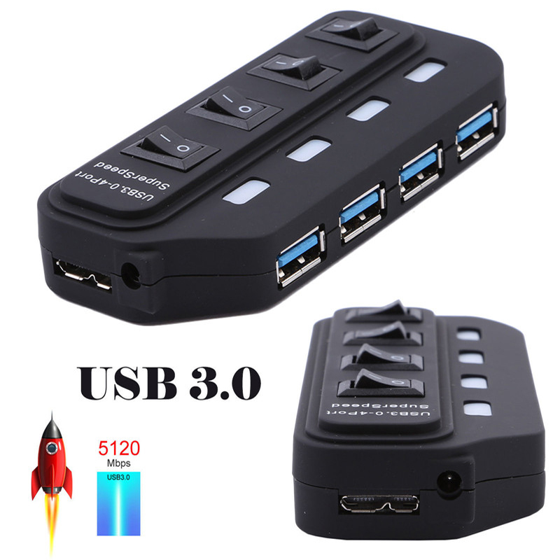 USB 3.0 HUB 4 7 Port With LED Power Charging Switch Multiple USB Splitter High Speed 5Gbps USB Hab USB-HUB EU US AU UK Adapter