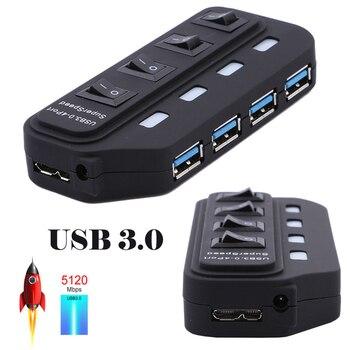 USB 3.0 HUB 4 7 Port with LED Power Charging Switch Multiple USB Splitter High Speed 5Gbps USB Hab USB-HUB EU US AU UK Adapter