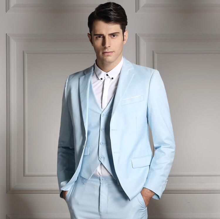Rand moda masculina três peças conjunto de negócios casual fino ajuste ternos preto cinza azul real do noivo ternos de casamento para homem smoking - 6
