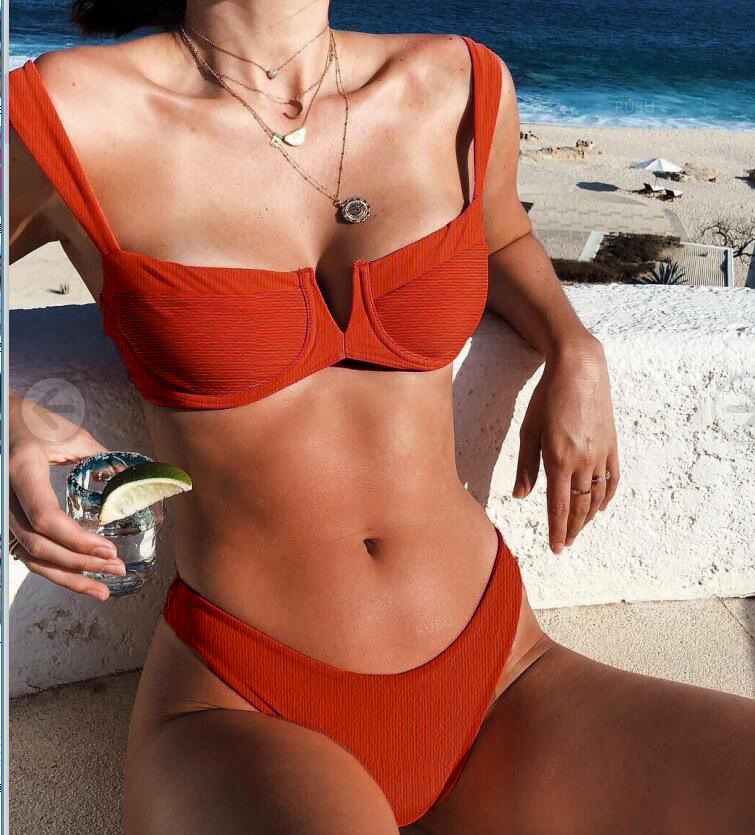 Midou <font><b>Sexy</b></font> Bandeau <font><b>Bikinis</b></font> 2019 New <font><b>V</b></font> <font><b>Neck</b></font> <font><b>Bikini</b></font> Swimsuits Push Up <font><b>Swimwear</b></font> Female Brazilian <font><b>Bikini</b></font> Set Bathing Suits Biquini L image