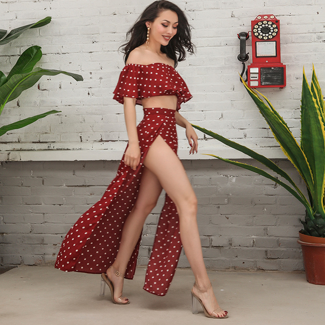86b0598567 Sexy Women Polka Dot Off Shoulder Crop Top Slit Long Skirt 2 Pieces Set  Ruffles Top