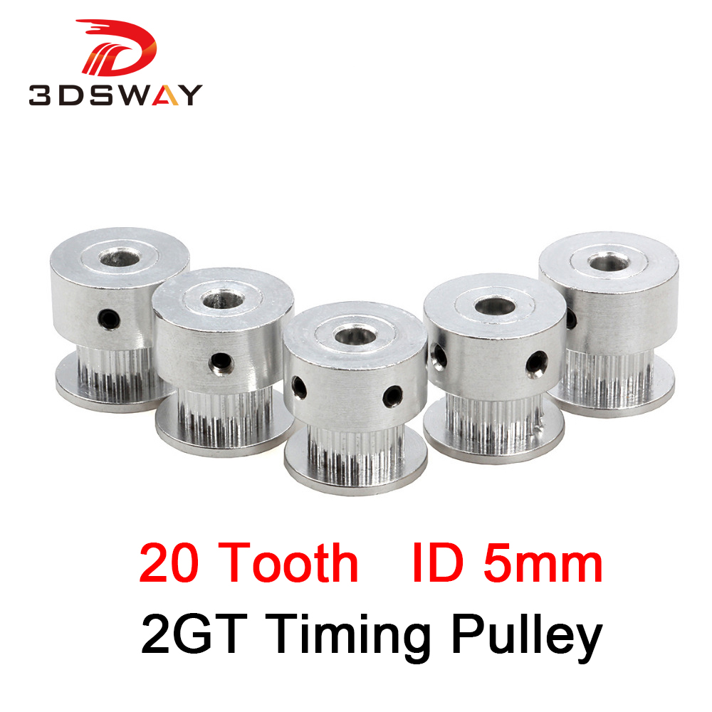 3DSWAY 2GT Timing Pulley 20 Tooth 5mm GT2 Synchronous Pulley For Reprap Delta Kossel Prusa 3D Printer Parts