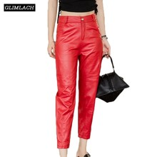 New Large Size Natural Sheepskin Real Leather Pants Women Genuine Trousers Lady Black Red Gray Fashion Slim Pencil